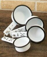 Set of 4 Measuring Cups Country Enamelware Kitchen Food Measurement Home Decor