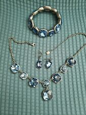 MONET  BLUE  CRYSTAL SILVERTONE BIB Necklace Bracelet and Earrings Some TLC