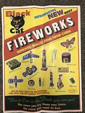 "RARE Vintage Li & Fung BLACK CAT Variety-14pc Fireworks POSTER 23"" firecrackers"
