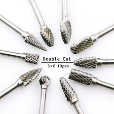 10pcs Double Cut Tungsten Carbide burr Set Metal Drilling Bits with 3mm Shank