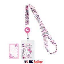 Sanrio Hello Kitty Lanyard Key Leash ID Badge Reel KeyChain : Girly Pastel Kitty