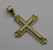 14k Two Tone Gold Cross Pendant 2.2 GR 1.5 INCH
