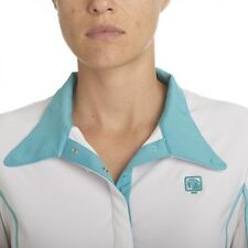 NEW Romfh® Competitor Show Shirt- Long Sleeve, Large, White/Teal