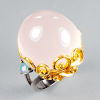 Handmade28ct+ Natural Rose Quartz 925 Sterling Silver Ring Size 8/R121987
