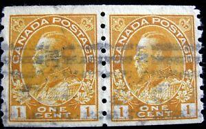 CANADA – Sc #126d – 1¢ – ORANGE YELLOW – USED – 1923