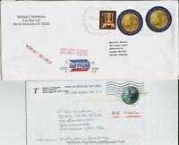 "Round global ""forever"" stamps, pair etc, on nine covers and cards to Europe"