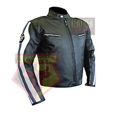 BMW 3874 NAVY BLUE MOTORBIKE COWHIDE LEATHER MOTORCYCLE BIKERS ARMOURED JACKET