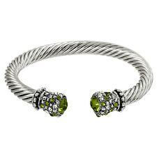 Crystal Tip Bracelet Twisted Metal Cuff Silver D Grn Pave Stone Chunky Cable