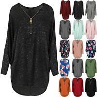 Ladies Rib Knit Long Sleeve Jumper Womens Zip Baggy Oversized Hi Lo Batwing Top