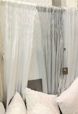 2 Shabby French Provincial Curtains Drapes Grey Vintage Smocked Panels Chic New
