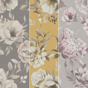 New Glamour Luxury Floral Flower Roses Textured Wallpaper Linen Effect Textured