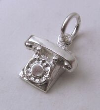 SOLID 925 STERLING SILVER VINTAGE TELEPHONE Charm/Pendant