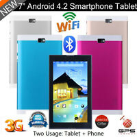 """7"""" 3G Phone Android 4.2 Dual SIM Camera Smartphone Tablet PC Bluetooth GPS Wifi"""