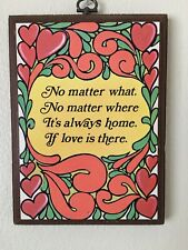 Vintage Wooden Wall Plaque Home Welcoming Love Quote Hanging Picture Hearts Red