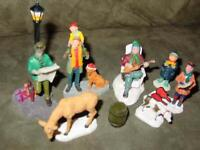 Lot (33) LEMAX VILLAGE : Christmas Figures, Fall, Animals, Halloween, misc