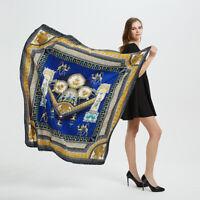 Women's Fashion Large Shawl Scarf Place Print Twill Silk Hijab Scarves 130*130cm