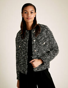 M & S Tweed relaxed jacket  size 16-Black mix -New