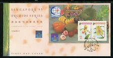 Singapore Scott #686b FIRST DAY COVER Orchids FLORA Stamp EXPOS S/S $$