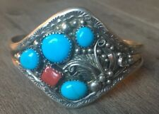 """SIGNED/STAMPED"" VINTAGE NAVAJO TURQUOISE, CORAL & STERLING SILVER CUFF BRACELET"