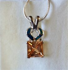 Pretty blue fire opal & amber CZ pendant with 20''chain
