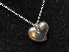 Estate Tiffany & Co. Elsa Peretti Sterling Silver Full Heart Pendant Necklace