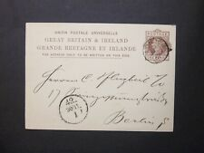GB Postal Stationery 1881 QV 1d brown UPU Postcard LONDON s/c to Berlin Germany