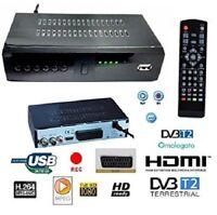 DECODER RICEVITORE DIGITALE TERRESTRE HDMI SCART 1080P TV DVB-T2 USB TELECOMANDO