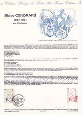 Document Philatélique Timbre 1er Jour : 06/11/ 1987 - Blaise Cendrars