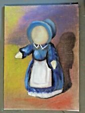 Doll abstract original paiting signed on canvas wrapped mdf board free ship