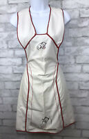 Vintage Muslin White Full Apron With Red Piping and Hand Embroidered Kittens