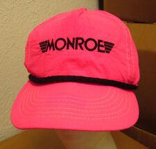 MONROE SHOCKS STRUTS vtg baseball hat automotive nylon cap 1980s hot pink snap
