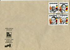 Le Zimbabwe 2014 FDC héros 4V Set Couverture Sabina Mugabe Eric gwanzura kangai