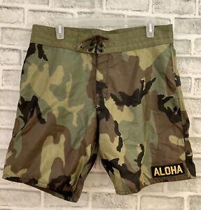 Birdwell Beach Britches Men's Size 33 Camo Aloha Patch Nylon Boardshorts - MINT