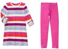 NWT Gymboree Mix 'n' Match Fall Multi-Striped Dress & Leggings 7