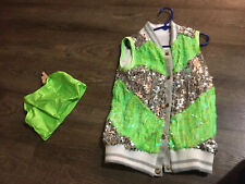 Dance Costume Intermediate Child Lime Green Sequin Hip Hop Solo/Duo Competition