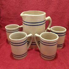 Vintage Buckeye root beer pottery pitcher & 4 mugs set