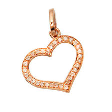 SMALL 14K ROSE GOLD NATURAL PAVE DIAMOND FLOATING HEART PENDANT CHARM NECKLACE