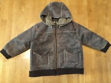 Widgeon Brown Distressed look Faux Leather COAT Jacket Sherpa Lined Hood Kids 3