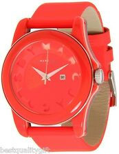 NEW-MARC JACOBS BRIGHT,NEON ORANGE LEATHER BAND+STRIPE DIAL WATCH MBM4013+BOX