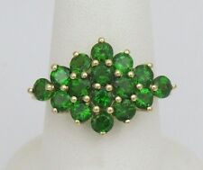 3.27 ctw Panorama Russian Diopside Cluster Gold Ring - Size 9