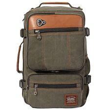 KAUKKO Vintage Canvas Backpack Outdoor Rucksack Hiking Travel Shoulder Bag Army