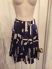 NEW RALPH LAUREN Women's 100% Silk Pleated Skirt Black Blue Geometric Sz 4P NWT