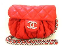 Auth CHANEL Chain Around A49889 Red Vintage Leather  Shoulder Bag