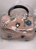 $108 Betsey Johnson Women's Curly Girl pink  Top Handle Crossbody Handbag B2
