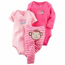 NEW NWT Girls Carter's Preemie Premature 3 Piece Pink Auntie's Favorite Monkey