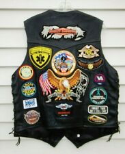 ProRider Motorcycle Harley Davidson Patches Leather Vest Lace Removed Patches L