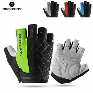 ROCKBROS Bicycle Half Finger Golves Cycling Shockproof Breathable Cobweb Gloves