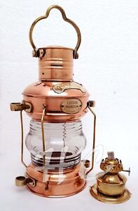 "Anchor Oil Lamp Leeds Burton Brass & Copper Nautical Maritime 14"" Ship Lantern"