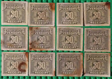 12 Early Ohio Vendors 30 Cent Tax Stamps