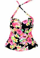 Lauren by Ralph Lauren Womens Swimwear Black Pink 4 Floral Tankini Top $78 643